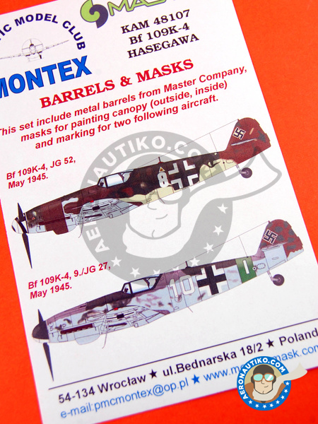 Messerschmitt Bf 109 K-4 | Masks in 1/48 scale manufactured by Montex Mask (ref. KAM48107) image