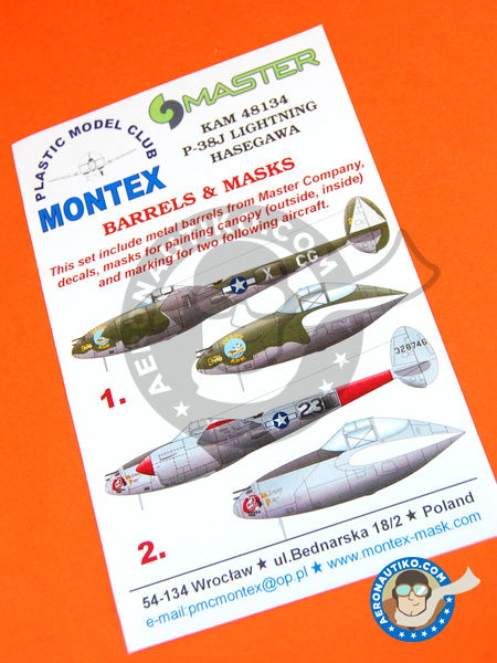Lockheed P-38 Lightning J | Masks in 1/48 scale manufactured by Montex Mask (ref. KAM48134) image