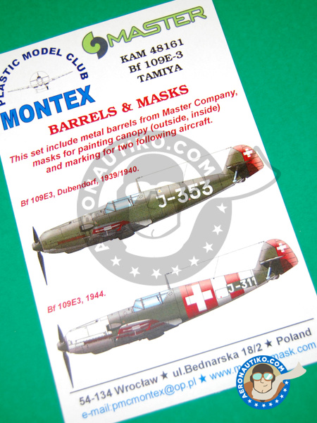 Messerschmitt Bf 109 E-3 | Masks in 1/48 scale manufactured by Montex Mask (ref. KAM48161) image