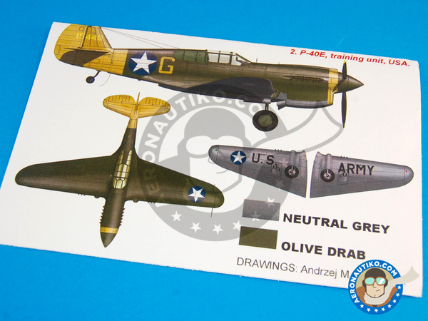 Image 1: Curtiss P-40 Warhawk E | Masks in 1/48 scale manufactured by Montex Mask (ref. KAM48170)