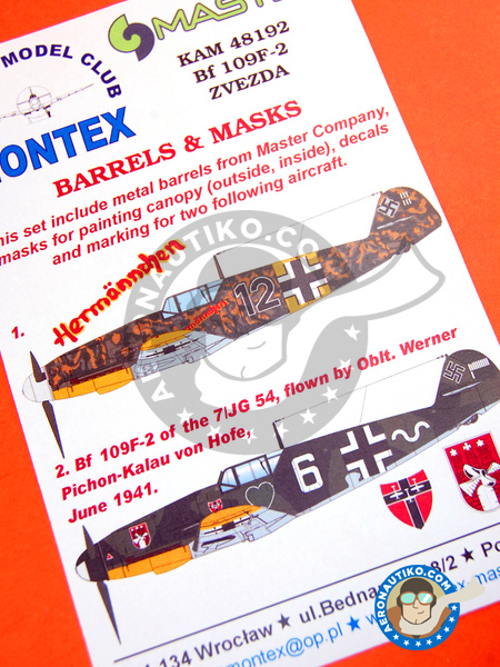 Messerschmitt Bf 109 F-2 | Masks in 1/48 scale manufactured by Montex Mask (ref. KAM48192) image