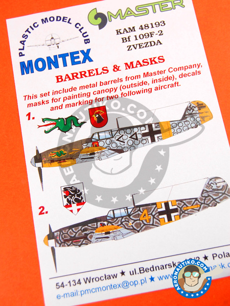 Messerschmitt Bf 109 F-2 | Masks in 1/48 scale manufactured by Montex Mask (ref. KAM48193) image