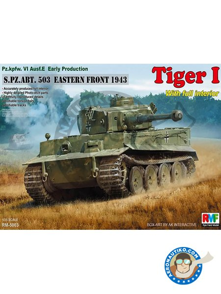 Pz.kpfw.VI Ausf. E Early Production Tiger I S.PZ.ABT. 503 Eastern Front 1943 w/full interior | Tank kit in 1/35 scale manufactured by RYE FIELD MODELS (ref. RM-5003) image