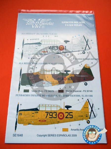 North American T-6 Texan D/G | Marking / livery in 1/48 scale manufactured by Series Españolas (ref. SE1648) image