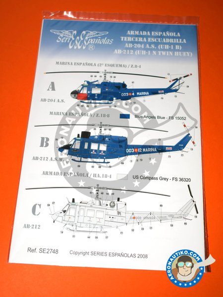 Bell UH-1 Iroquois B/N | Marking / livery in 1/48 scale manufactured by Series Españolas (ref. SE2748) image