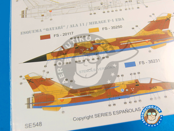 Image 4: Dassault Mirage F1 | Marking / livery in 1/48 scale manufactured by Series Españolas (ref. SE548)