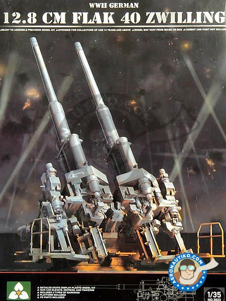 WWII German 12.8cm Flak 40 Zwilling | Anti-aircraft gun in 1/35 scale manufactured by Takom (ref. 2023) image