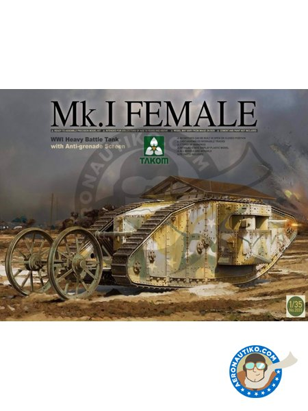 WWI Heavy Battle Tank Mk.I Female | Tank kit in 1/35 scale manufactured by Takom (ref. 2033) image
