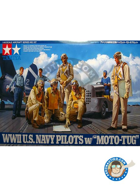 WWII U.S. Navy Pilots w/Moto-Tug | Figure in 1/48 scale manufactured by Tamiya (ref. 61107) image
