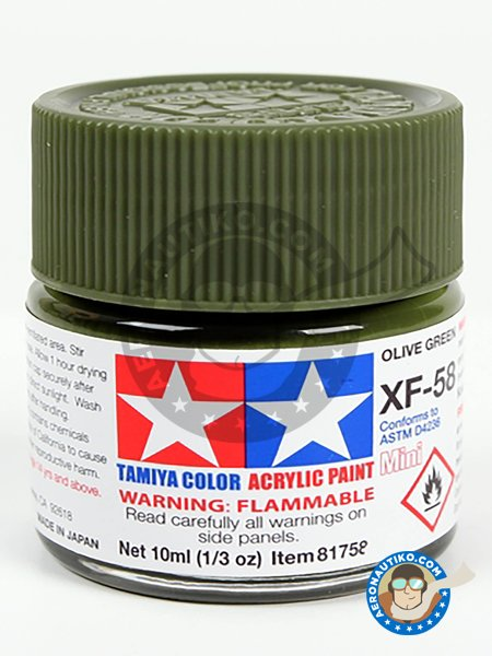 XF-58 Olive green. 10ml | Acrylic paint manufactured by Tamiya (ref. 81758) image