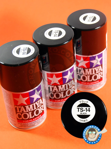 Gloss Black TS-14 - 100ml | Spray manufactured by Tamiya (ref. TAM85014) image
