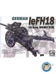 AFV Club: Howitzer 1/35 scale - German leFH18 10.5cm Howitzer - plastic parts, turned metal parts and assembly instructions
