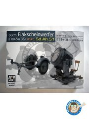 AFV Club: Anti-aircraft searchlight 1/35 scale - 60cm Flakscheinwerfer (Flak-Sw 36) mit Sd.Ah.51 - photo-etched parts, plastic parts and assembly instructions - for all dioramas or scenes