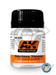 AK Interactive: Thinner - Odorless thinner. For enamel and oil paint. - 35 mL jar - for for enamel and oil paint.