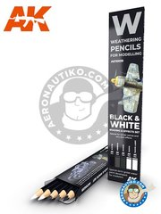 AK Interactive: Pencils set - Special weathering pencils set. Black and white - black, rubber, white, smoke, dirty white - for all kits - 5 units