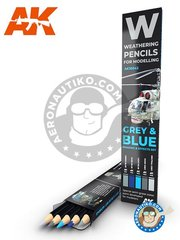 AK Interactive: Paints set - Special weathering pencils set. Grey and blue. - green blue, dark blue, light blue, dark grey, neutral grey - for all kits - 5 units