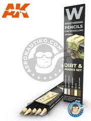 AK Interactive: Pencils set - Special weathering pencils set. Dirt, marks set. - dust/rainmarks, concrete marks, earth brown, buff, streaking dirt - for all kits - 5 units