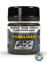 AK Interactive: AK Weathering efect product - Paneliner for brown and green. - 35ml jar - for all kits