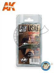 AK Interactive: Paints set - USAF EUROPEAN CAMO - Air Series - Dark Green, Medium Green, Grey, Dull Dark Green - for all kits