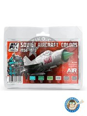 AK Interactive: Paints set - Soviet Aircraft Colors | 1950 - 1970 - URSS - AK-2301 Cockpit Turquoise, AK-2302 Radome Green AK-2303 Interior Green, AK-2304 Cockpit Grey, AK-479 Xtreme Meminium, AK-480 Xtreme Metal Dark Aluminium - for all kits