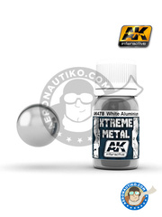 AK Interactive: Xtreme metal paint - White aluminium - 30mL Jar - for all kits