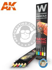 AK Interactive: Pencil - Shading & demotion set - Light green, Light blue, Red, Yellow, Aluminum - for all kits