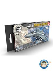 AK Interactive: Air Series Set - Color set by U.S. MODERN AIRCRAFT 2 - 8 acrylic paint jars - for all kits
