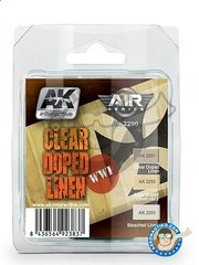 AK Interactive: Air Series Set - Painst set Clear doped linen - 3 acrylic paint jars - for all kits