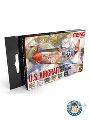 AK Interactive: Paints set - U.S. Aircraft Metal Skin Colors | Meng Color - MC-502 Silver, MC-511 Aluminum, MC-298 U.S. Olive Drab, MC-299 Interior Yellow or Zinc Chromate, MC-300 Interior Green, MC-202 Rubber Black - for all kits
