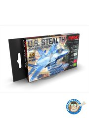 AK Interactive: Paints set - U.S. STEALTH CAMOUFLAGES COLORS - Meng Color - Stealth Camouflage Dark Grey, Stealth Camouflage Light Grey, Air Superiority Grey 4, Stainless Steel, Transparent Red, Transparent Green. - for all kits