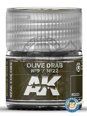 AK Interactive: Real color - Olive drab Nº9 / Nº22. US Army 10ml - for all kits