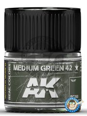 AK Interactive: Real color - Medium Green 42 - 10ml jar - for all kits