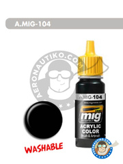 AMMO of Mig Jimenez: Acrylic paint - Washable black - 17ml Jar - for all kits