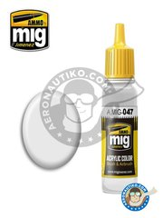 AMMO of Mig Jimenez: Acrylic paint - Satin White | New 2018 - 17ml Jar - for all kits