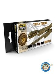 AMMO of Mig Jimenez: Paints set - Paint set of wheels, tired and tracks. - 17ml x 6 jars - for all kits