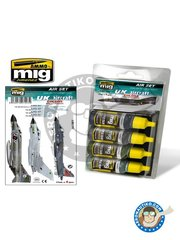 AMMO of Mig Jimenez: Acrylic paint - UK Aircraft Colors from 50's to present - FS36118 Medium Gunship Gray, FS26173 (BS638), FS34079 (BS641), FS36314 (BS626) - for all kits
