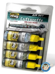 AMMO of Mig Jimenez: Paints set - Colors set of Luftwaffe early WWII - 17ml x 4 jars - for all kits