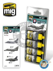 AMMO of Mig Jimenez: Acrylic paint - French Modern Jets. Color set | Air set - A.MIG-0205 FS26231 BS638, A.MIG-0206 RLM 81 FS34079 BS641, A.MIG-0236 FS36293, A.MIG-0235 FS36152 Dark Grey AMT-12 - for all kits