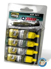 AMMO of Mig Jimenez: Paints set - Colors set of USAAF WWII  - 17ml x 4 jars - for all kits