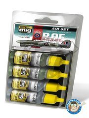 AMMO of Mig Jimenez: Paints set - Set colors of late WWII RAF - 17ml x 4 jars - for all kits
