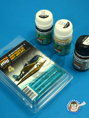 AMMO of Mig Jimenez: Paints set - Color set for Pacific US Navy Airplanes - 2 panel line wash and 1 effect - for all kits