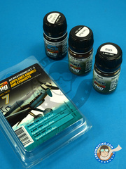 AMMO of Mig Jimenez: Paints set - Color set Airplanes Engines and Exhausts  | Air Weathering Set - 3 jars x 35ml - for all kits
