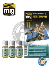 AMMO of Mig Jimenez: Paints set - Desert Airplanes | Air Weathering Set - A.MIG-1620 PLW Dust, A.MIG-1621 PLW Shadow for Desert Brown, A.MIG-1622 PLW Ochre for  Sand Camo - for all kits