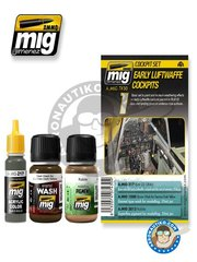 AMMO of Mig Jimenez: Paints set - Color set Early Luftwaffe Cockpits | Cockpit set - 3 jars - for all kits
