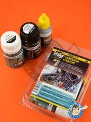 AMMO of Mig Jimenez: Paints set - Colors set for US modern cockpits  | Cockpit set - 3 jars - for all cockpits and aftermarket detail sets for US modern cockpits.