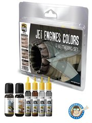 AMMO of Mig Jimenez: Paints set - Jets Engines Colors | Weathering Set Colors - A.MIG-187 Jet Exhaust, A.MIG-191 Steel, A.MIG-192 Polished Metal, A.MIG-045 Gun Metal, A.MIG-1407 Engine Grime, A.MIG-1008 Dark Wash - for all kits