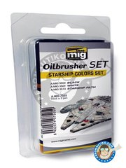 AMMO of Mig Jimenez: Oilbrusher Set - Starship Color Set 10ml x 3 Jars - A.MIG-3500 Black, A.MIG-White, A.MIG-3513 Starship Filth - for all kits