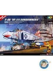 "Academy: Airplane kit 1/48 scale - F-4B ""VF-111 Sundowners"" - USS Coral Sea, 1975 (US0) - USS Coral Sea - plastic parts, water slide decals and assembly instructions"
