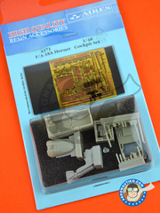 Aires: Cockpit set 1/48 scale - McDonnell Douglas F/A-18 Hornet A - photo-etched parts, resin parts and other materials - for Hobby Boss reference 80320 image
