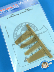 Aires: Control surfaces 1/48 scale - North American P-51 Mustang D - resin parts - for Tamiya kit